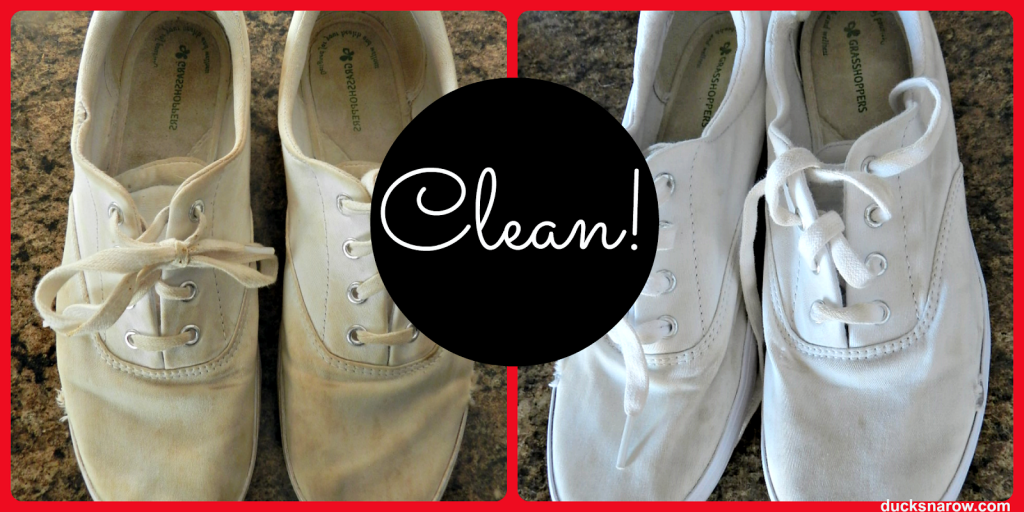 clean white canvas sneakers with toothpaste