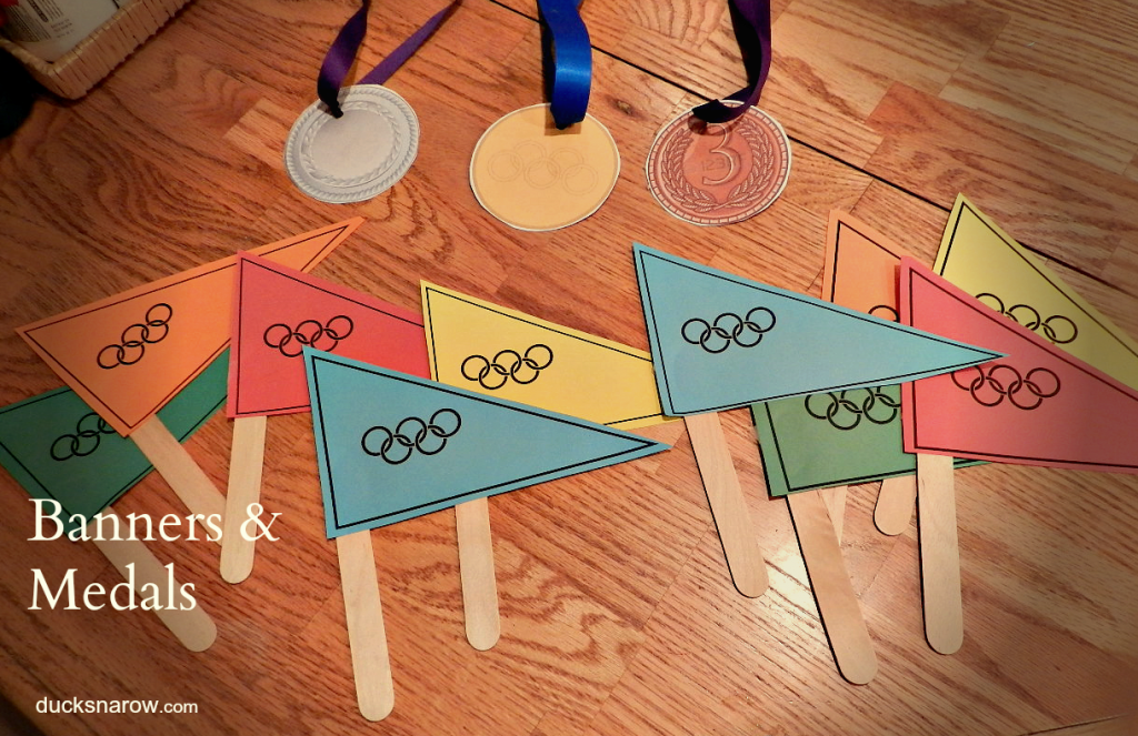 O is for Olympics preschool lesson with banners and medals from Ducks 'n a Row