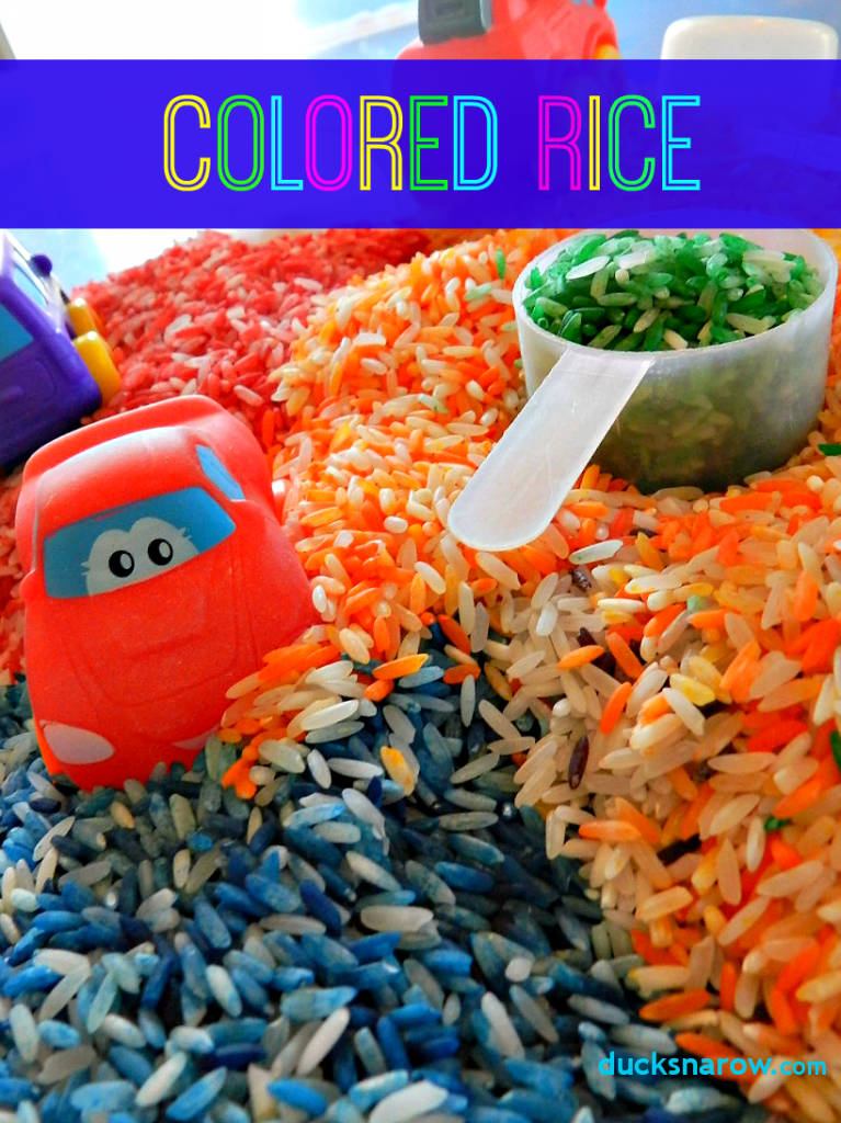 Colored rice preschool sensory activities #preschool Ducks 'n a Row