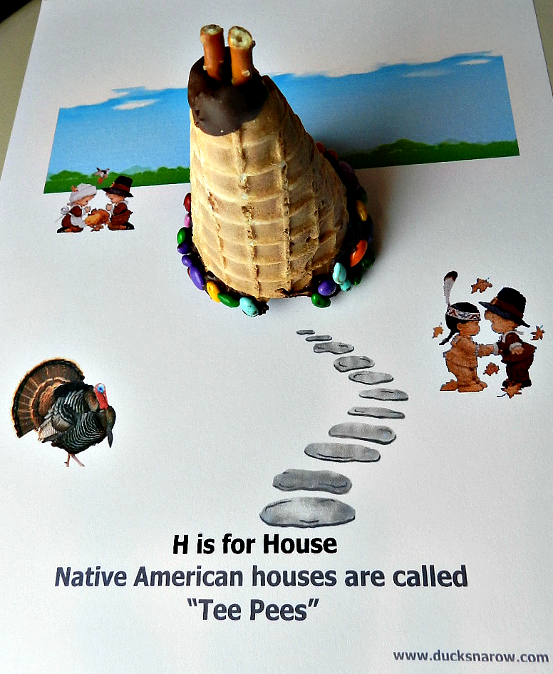 Thanksgiving craft for preschoolers; kids crafts; tee pees, H is for House