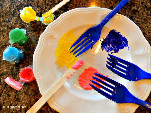S is for Spring preschool craft; fork painting; spring preschool lesson