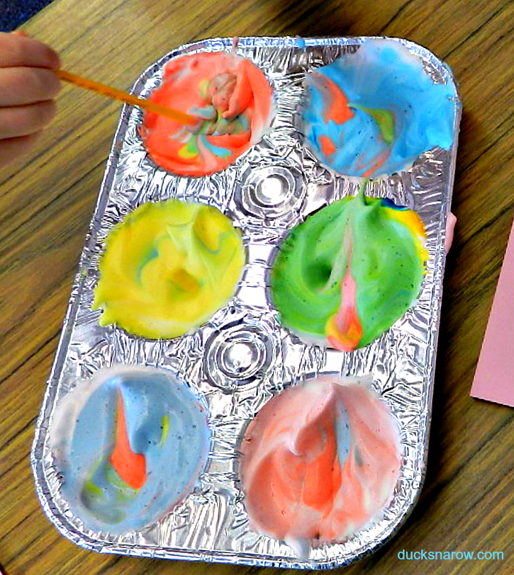 preschool painting try it with shaving cream  ducks   39 n a row Food Coloring Guide  Shaving Cream Food Coloring Art