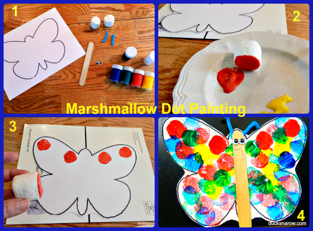 marshmallow painting, b is for butterfly, preschool craft, tempera paint, craft sticks, kids crafts