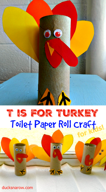 T is for turkey toilet paper roll craft for preschoolers for Toilet paper roll crafts thanksgiving