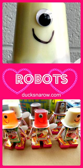 kids parties, party favors, food art, robot party theme, valentine