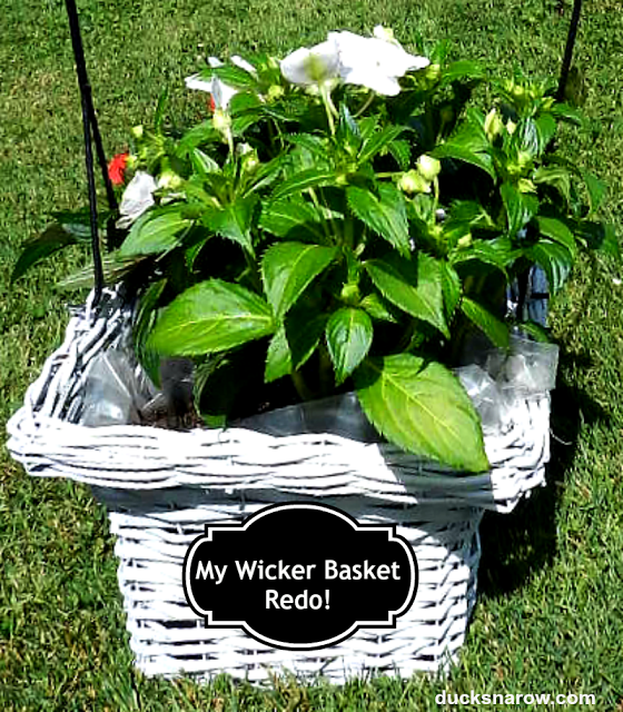 planters, wicker baskets, impatiens flowers