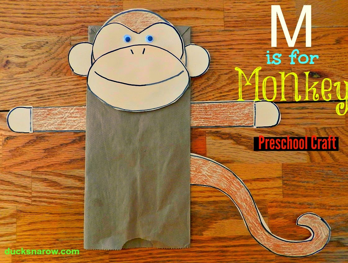 Make Fun Paper Bag Monkey Puppet With on Letter M Crafts Preschoolers