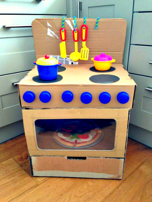 16 awesome diy cardboard toys to make that your kids will for Kitchen crafts to make