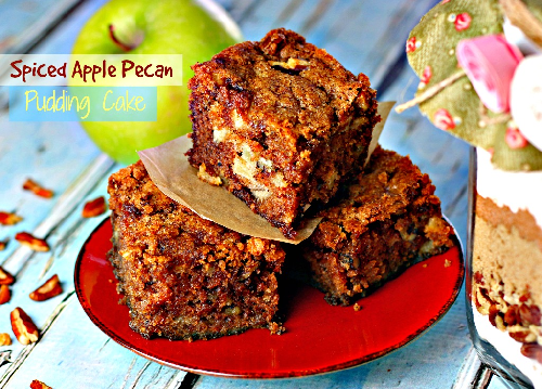 Spiced apple pecan pudding cake recipe