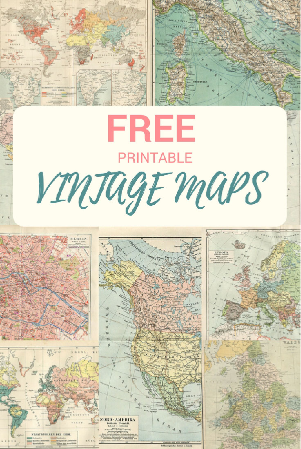 Free printable vinatage maps from Pillarbox Blue