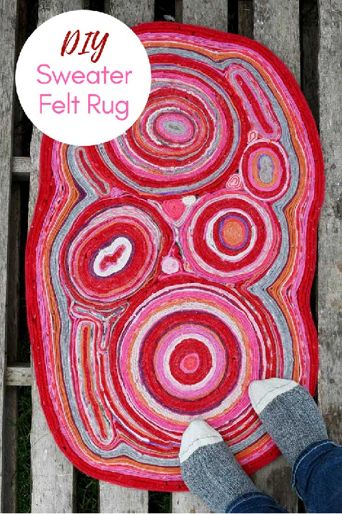 DIY Rug made from upcycled sweaters