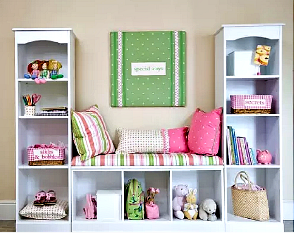Pink and green girls room with reading area - Ducks \'n a Row