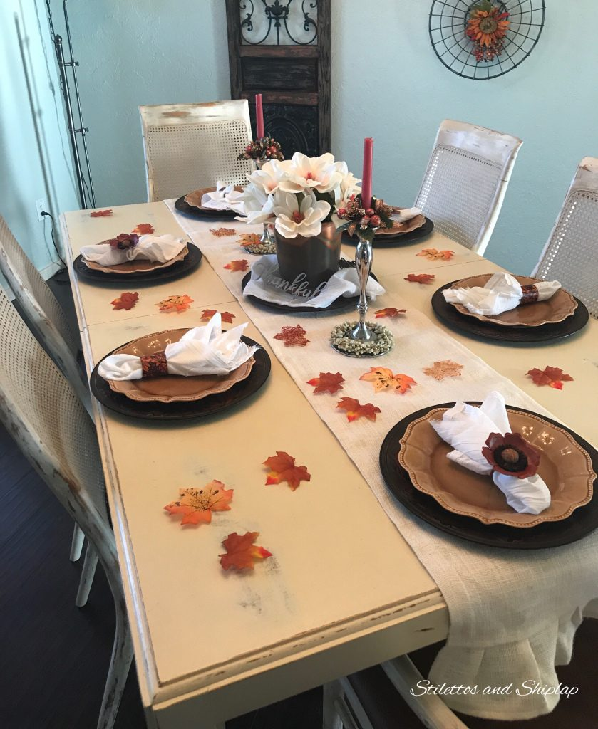 Simple fall tablescape from Stilettos and Shiplap