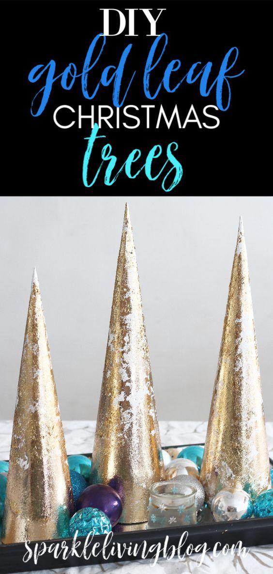 Gold leaf Christmas Trees