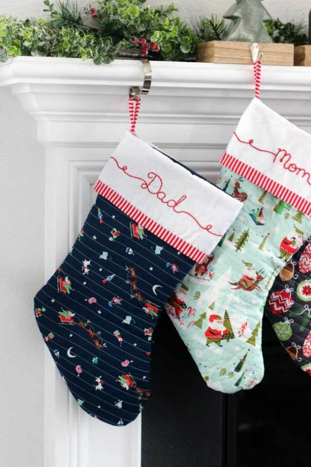 Quilted DIY Christmas stockings plus pattern from Gluesticks blog