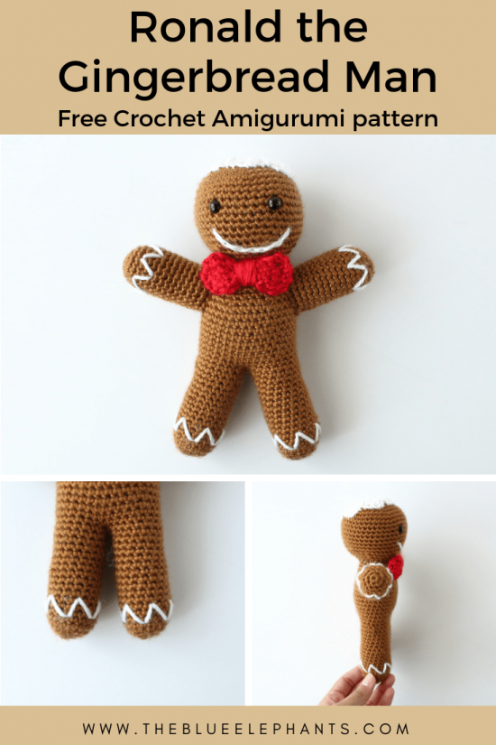 Ronald the gingerbread man crochet doll