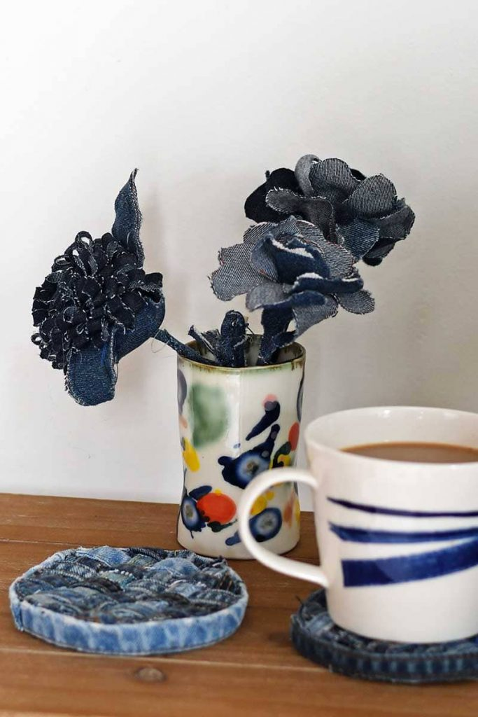 Upcycled jeans made into no-sew coasters from Pillarbox Blue