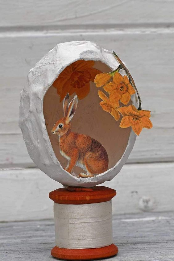 Paper mache egg decoration from Pillarbox Blue