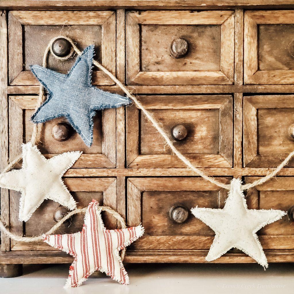 Farmhouse fabric star garland